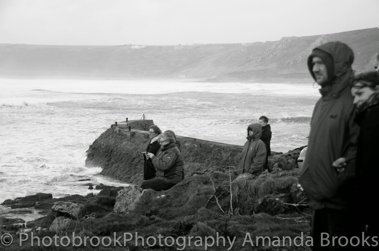 Storm watching giant waves in Cornwall
