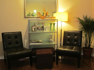 Vignette, seating, shelf styling, living room, shelves, cozy corner