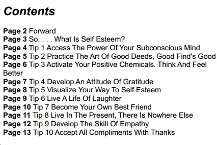 contents of the book 10 great ways to self esteem