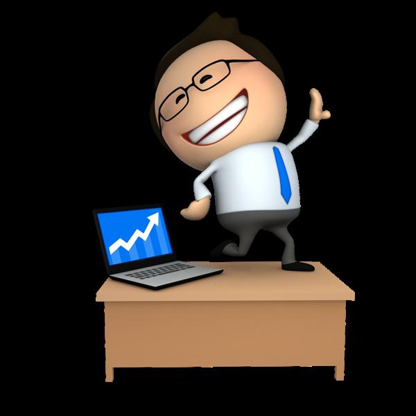 Happy successful business 3D Cartoon Guy