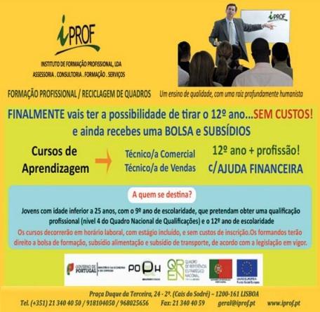 Formação financiada nível IV (comercial / vendas) com equivalência ao 12º ano – Lisboa