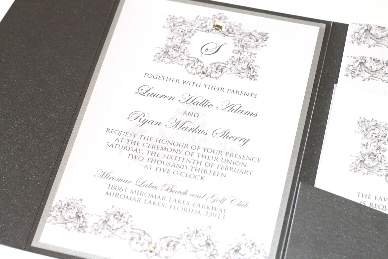 Custom Vintage Couture Wedding Invitation with Ostrich Feather ...