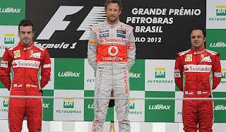FÓRMULA 1-Button lidera Interlagos bajo la lluvia. Alonso 2º, no sirvió para ser campeón