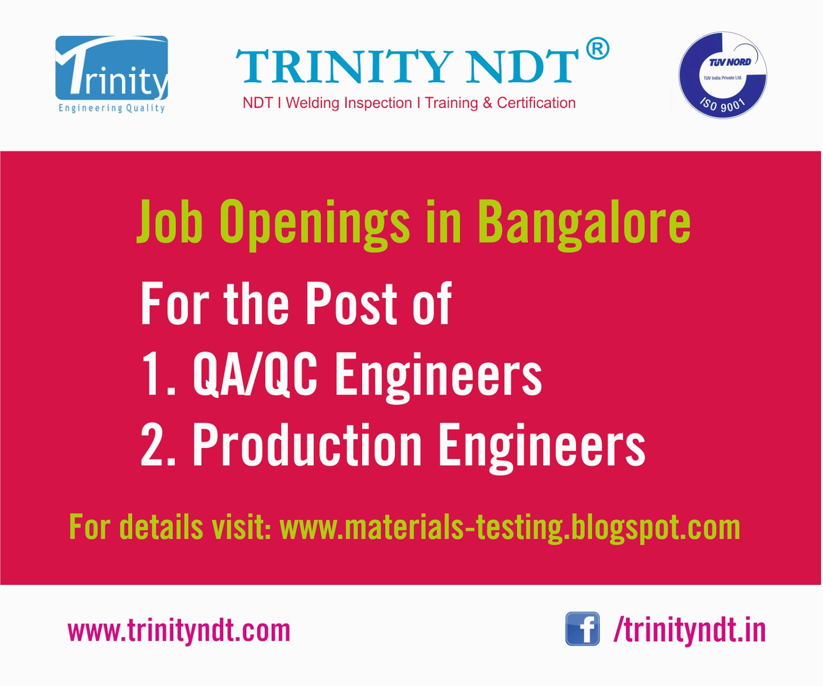 qaqc jobs in fabrication shop for mechanical engineers in bangalore - Production Engineering Job
