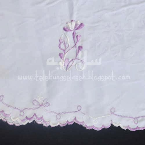 Telekung Vietnam lavender sulam bunga timbul