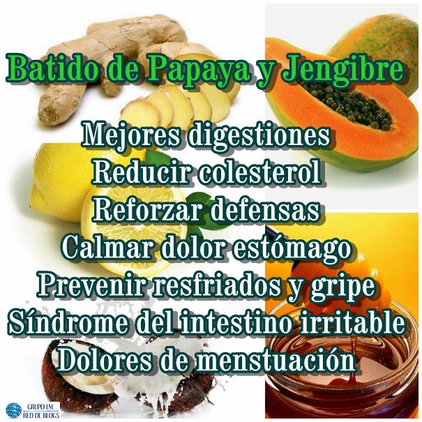 Propiedades Batido de Papaya y Jengibre