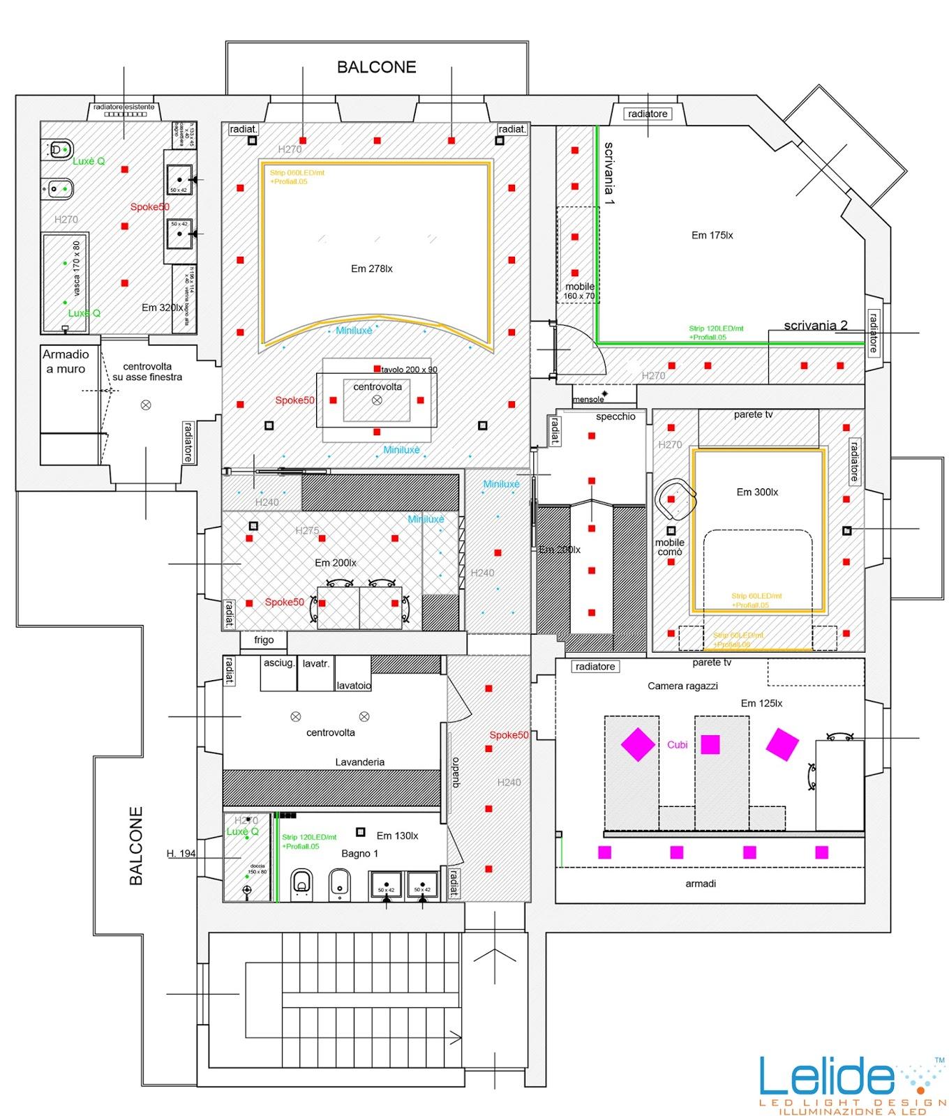 Illuminazione led casa il progetto illuminotecnico - Planimetria casa ...