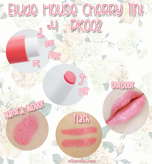 etude house sweet cherry tint swatch pink