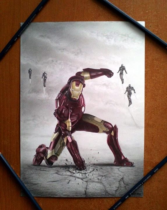 15-Robert-Downey-Jr-Iron-Man-Łukasz-Andrzejczak-Colored-Pencil-WIP-Drawings-www-designstack-co