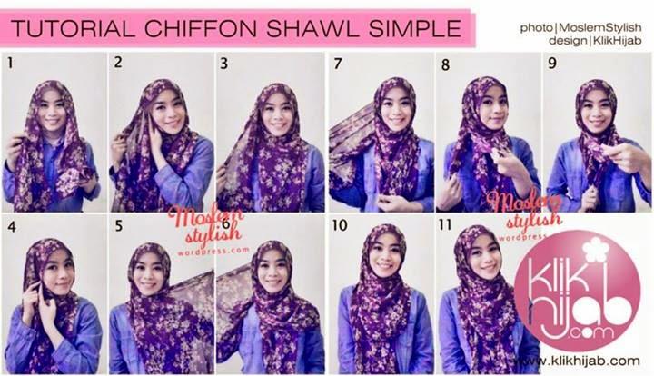 cara memakai jilbab chiffon shawl