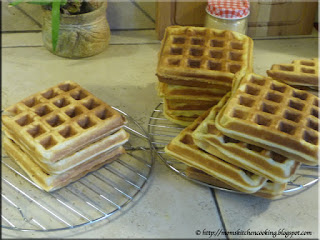 cooled waffles ready for packaging