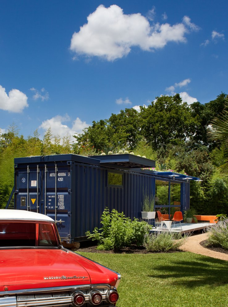 Shipping container homes green roof container home texas - Cargo container home builders ...