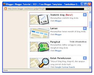 tambah gadget Statistik Blogger