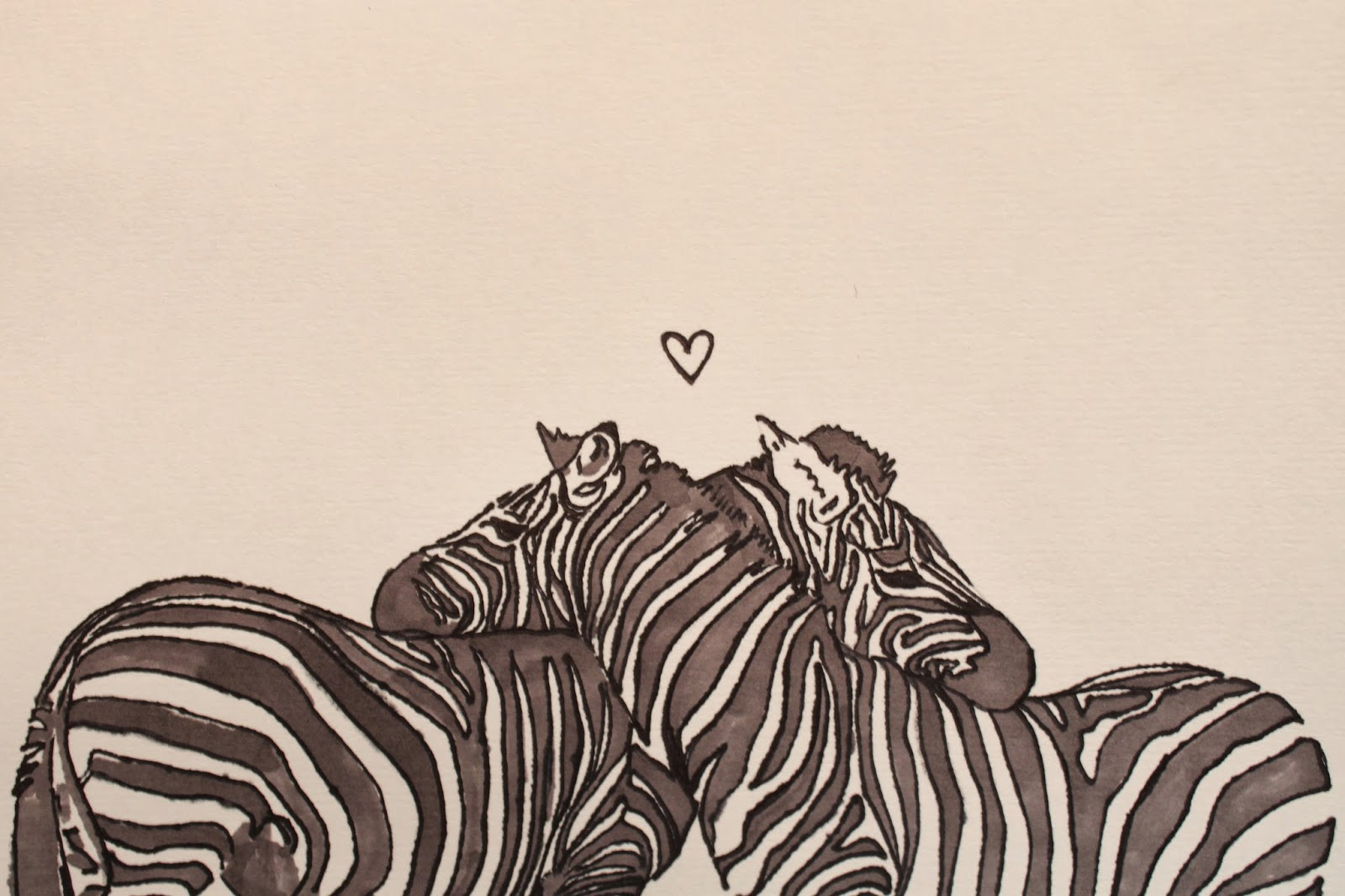 zebra valentine's day card, zebras hugging, illustration