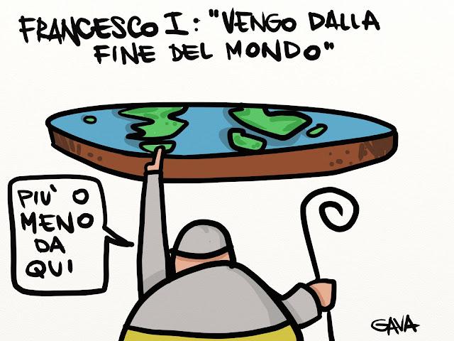 gava vignette satira ridere pensare caricature gavavenezia gavagnin marco  papa francesco poveri mondo terra mappamondo antichi galileo