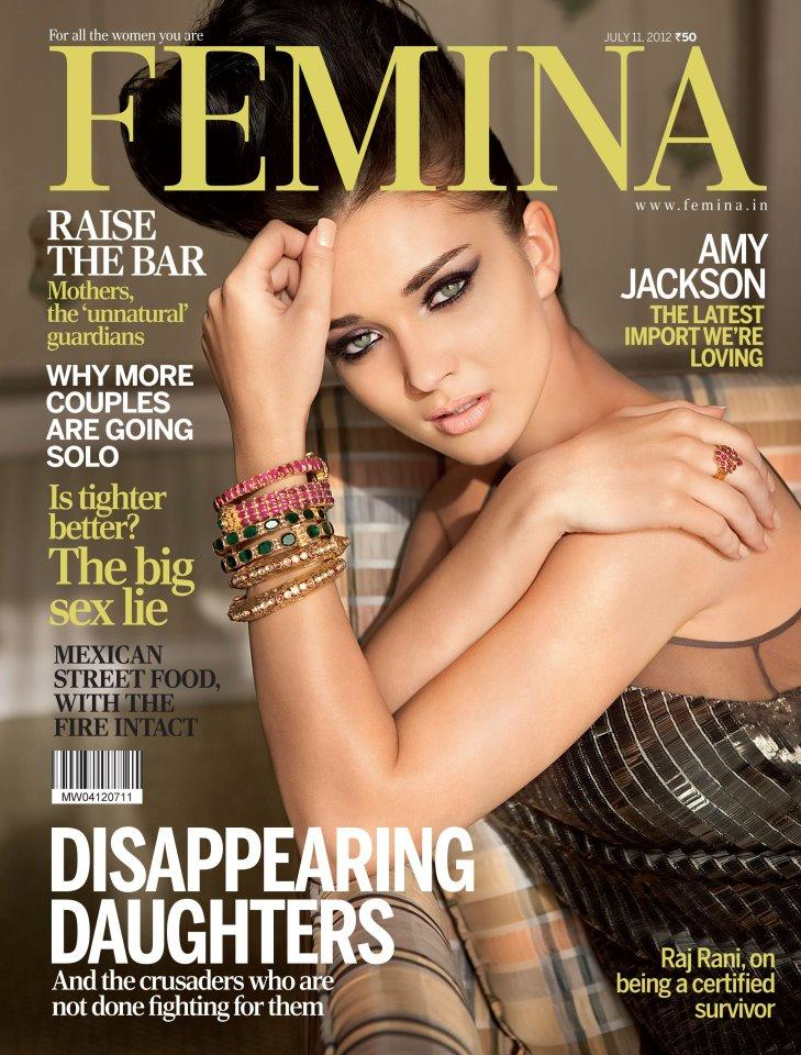 amy jackson on the cover of femina magazine india july 2012.