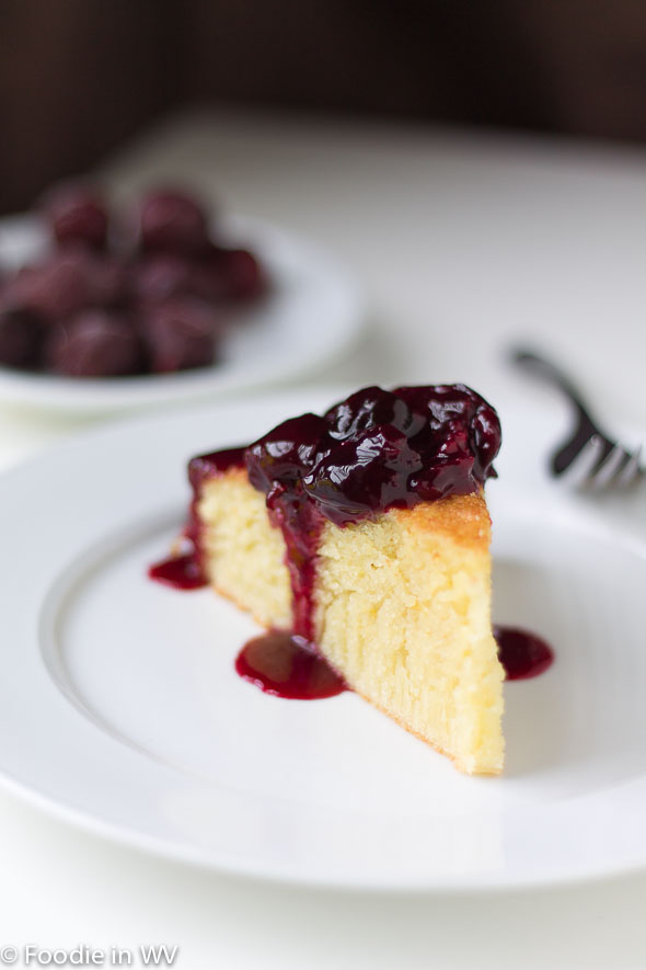 Click for Reciep for Olive Oil Cake with Cherry Topping