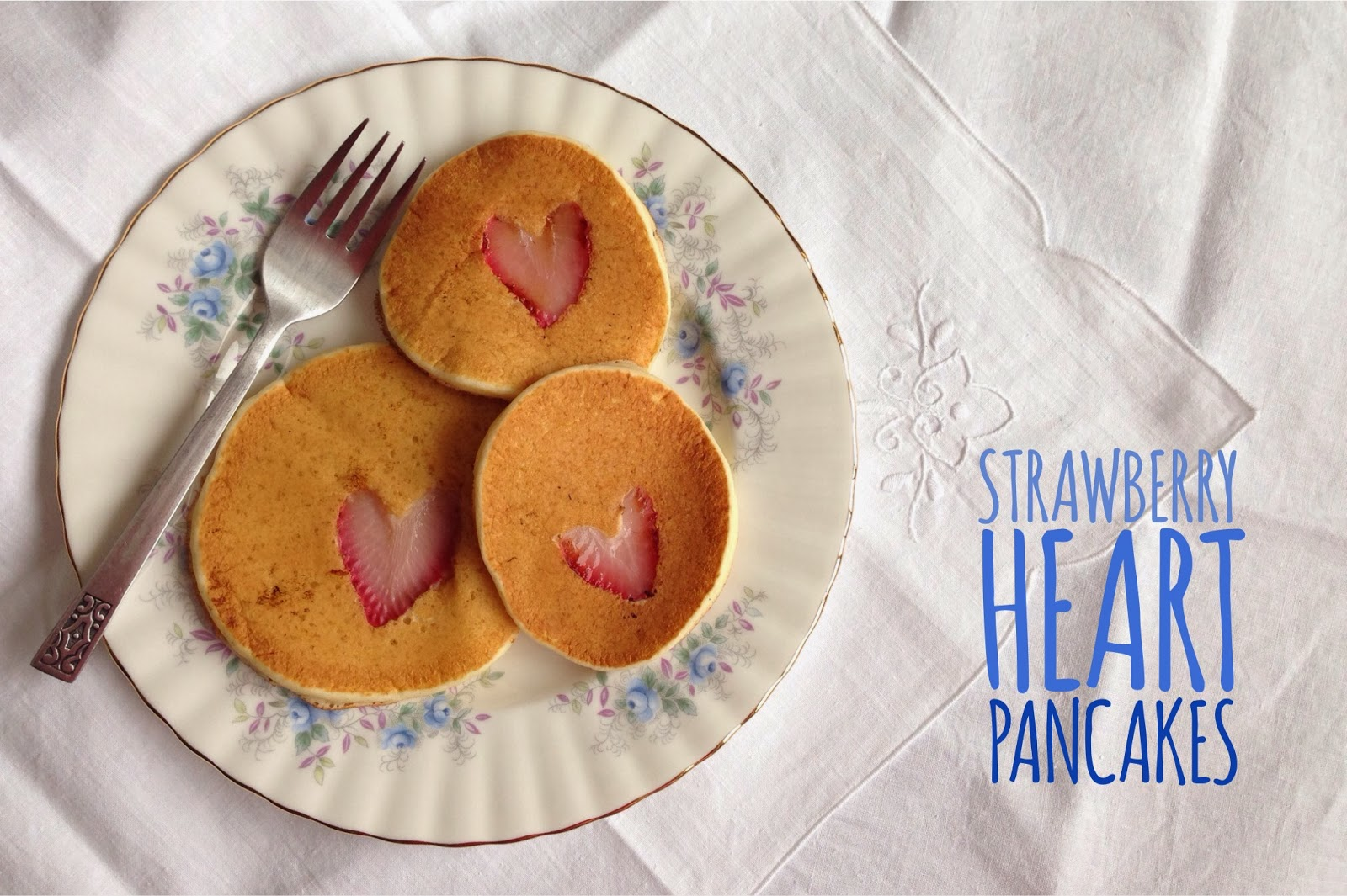 Pancakes with a Strawberry Heart in the Center -- great for V-Day or Mothers Day!