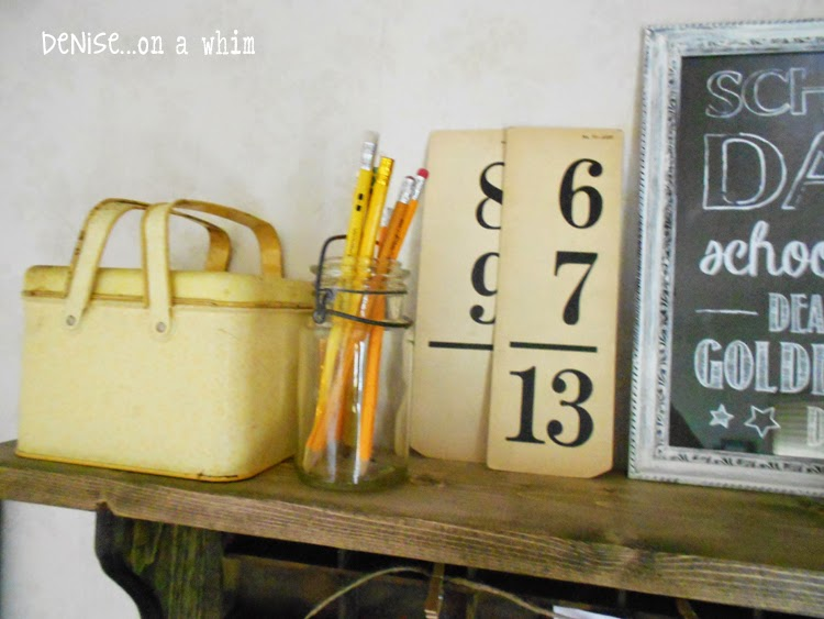 A Rusty Lunchbox Style Tin, some Pencils and Vintage Flashcards in a Back to School Vignette from Denise on a Whim