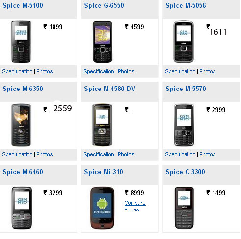 Spice Mobile Phones Price List With Pictures Find Phone