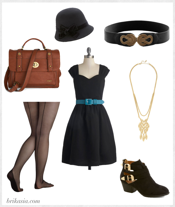 Modcloth, fashion collage, all black outfit, cute outfit, makeup artist outfit, committee celebration dress, modcloth outfit, ain't it grandeur necklace, afternoon at the races hat, winsome wayfarer satchel, city dwelling bootie, boldly buckled belt in black, pin up to you tights