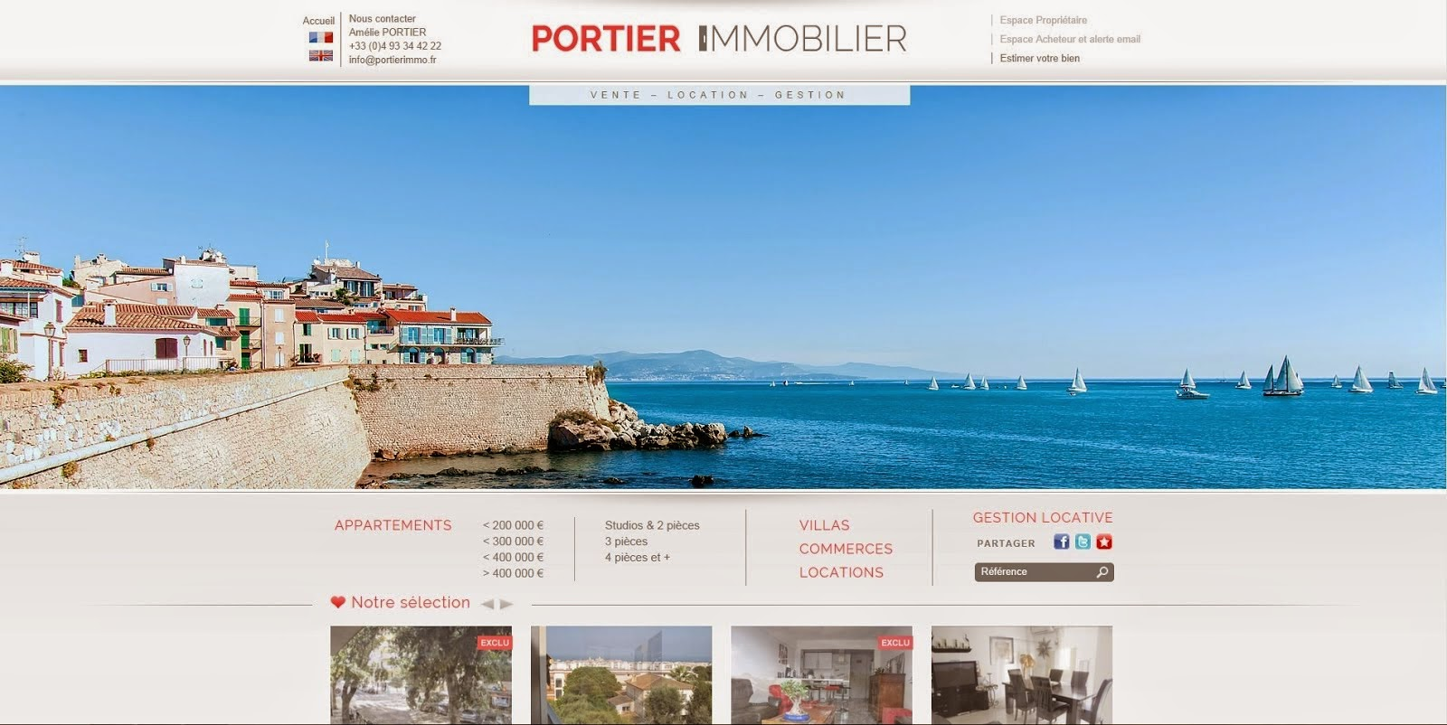 Votre agence immobiliere portier immobilier a antibes juan for Agence immobiliere site