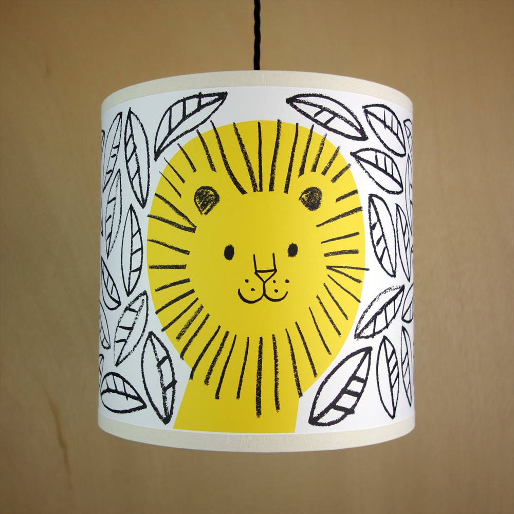 Handmade drum lampshade illustrated with lion in the jungle