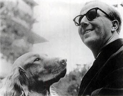 Jazz pianist George Shearing with his Golden Retriever Guide Dog, Lee