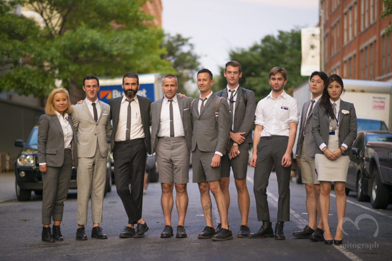 Designer Thom Browne and employees are wearing Thom Browne Suit after their 2015 Spring Summer show at New York Fashion Week NYFW