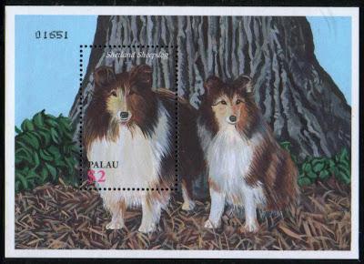 年度不明パラオ共和国 シェットランド・シープドッグの切手シート