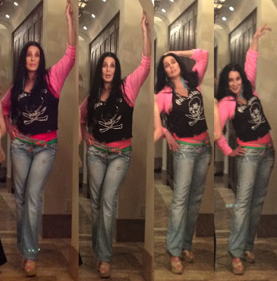 Spliced together: four similar photos of Cher posing