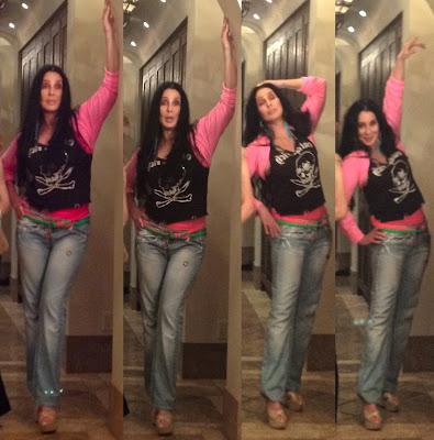 Spliced together: four similar photos of Cher posing