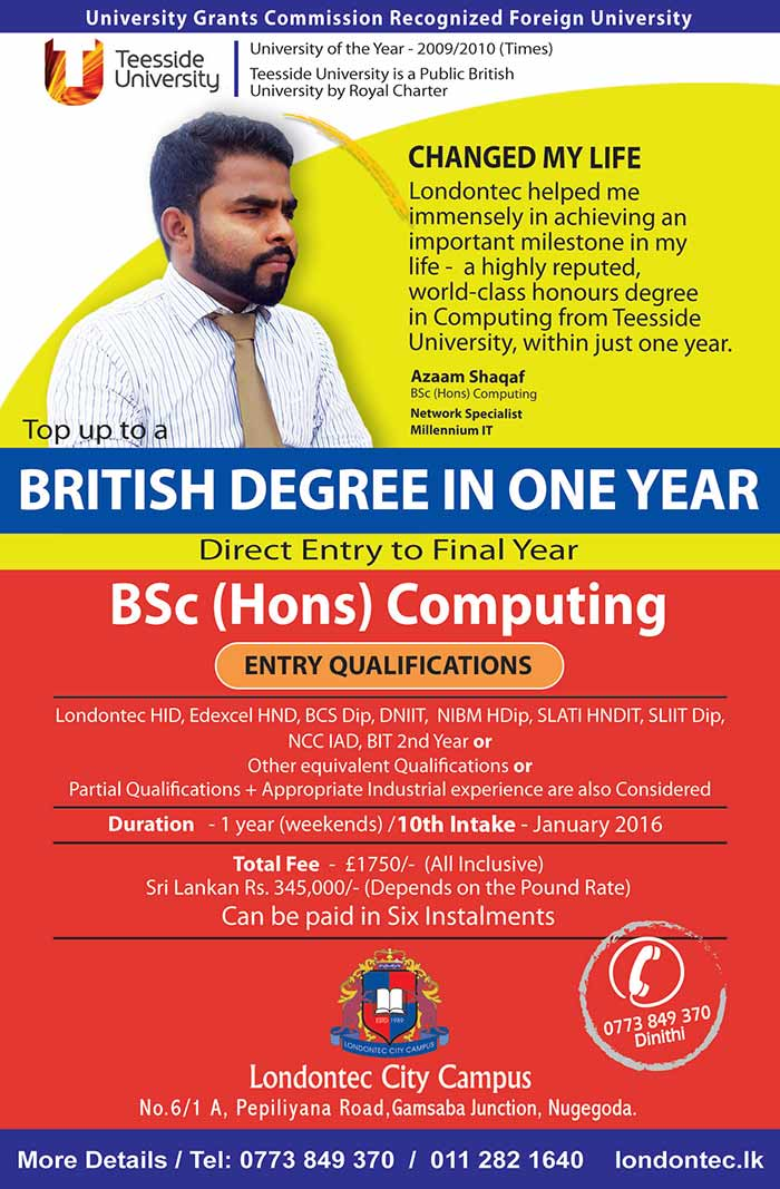 Established in 1989, Londontec has had a phenomenal growth from being an institution providing courses on electronics to a campus offering world class degrees and diplomas. Despite our growth we have been consistent with our founder's vision of providing education to satisfy the needs and wants of the society. Today, we can proudly claim that we offer the affordable and one of the most recognized British degrees in Sri Lanka.