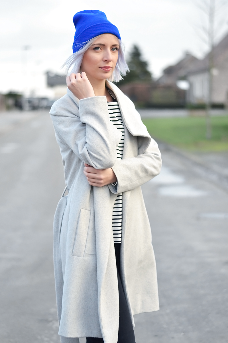 Mango, wool coat, grey, marc by marc jacobs, tote bag, bright blue beanie, cos, striped top, patent shoes, loafers, sacha