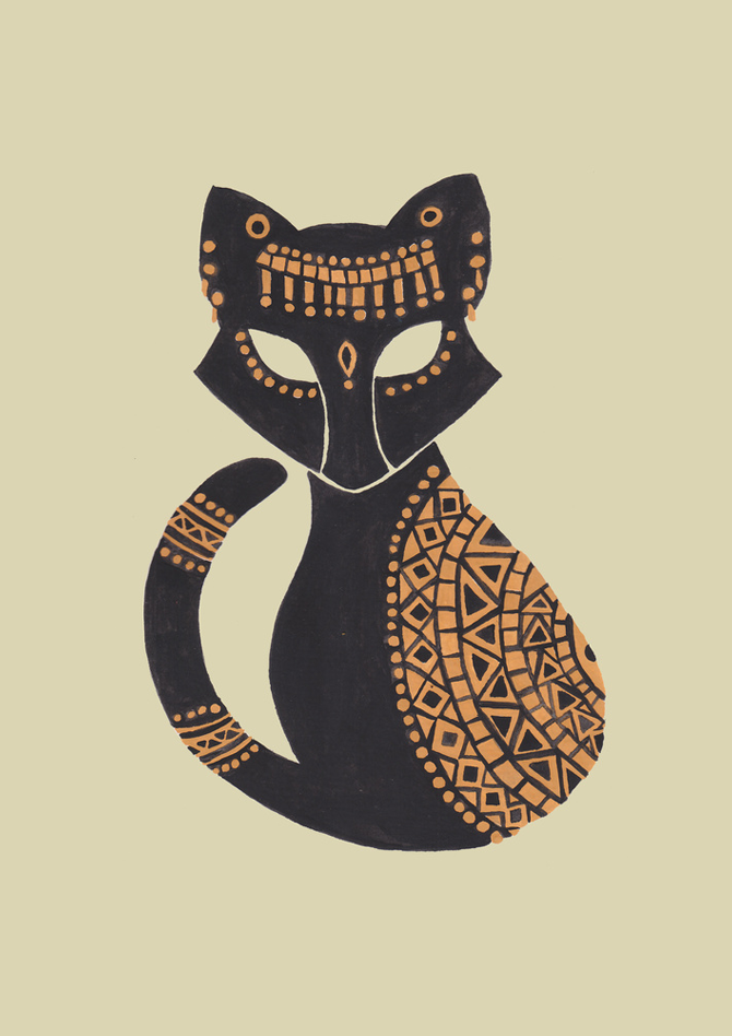 The Egyptian Cat Illustration Printed on Merchandise Illustration by Haidi Shabrina