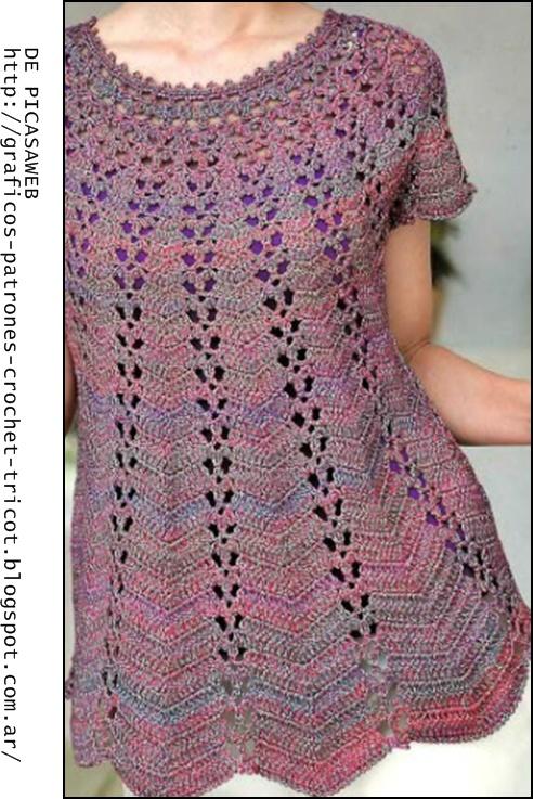 con su grafico es tejida con canesu redondo crochet dama y su patron
