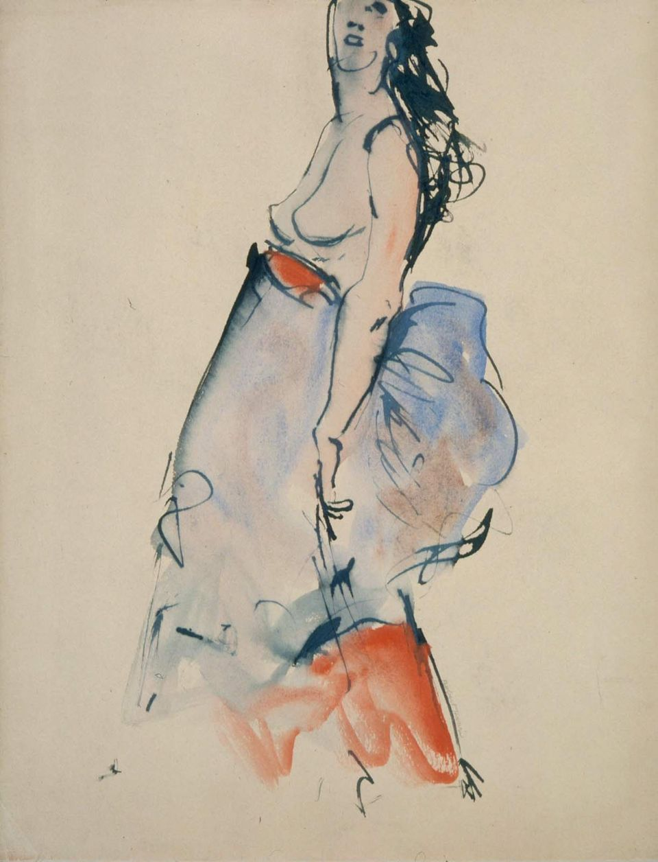 Nude+Model+with+Blue+and+Red+Skirt+watercolour+31.4+x+25.4+cm The 34 year old model, who is expecting a boy this month, posed nude for an ...