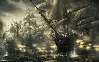 Ships Battle Drawing HD Wallpaper