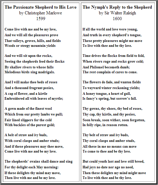 an analysis of the poem the nymphs reply to the shepherd by sir walter ralegh Check out our top free essays on the nymph s reply to the shepherd to help you write your own essay.