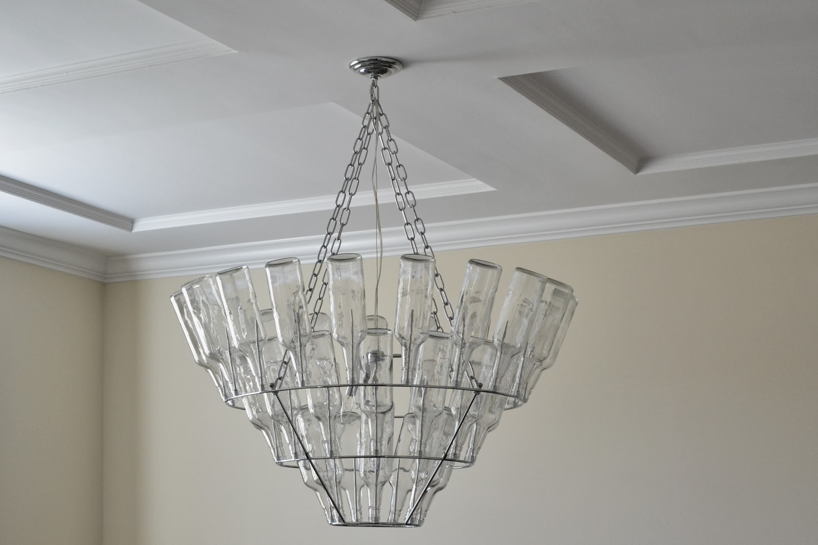Dining room progress wine bottle chandelier laforce be with you i plan to sell our practically new chandelier that came in the dining room when the house was built which retails at over 400 arubaitofo Images