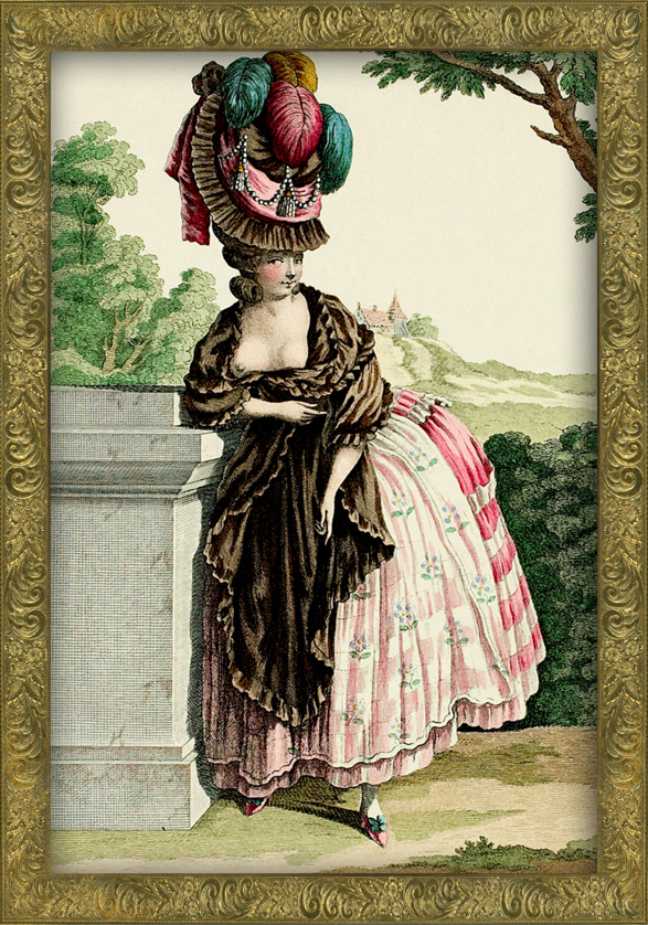 French Fashion plate from c1780 showing an exposed nipple