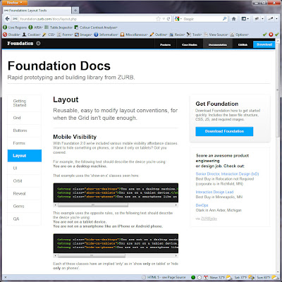 Screen shot of http://foundation.zurb.com/docs/layout.php.