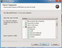 Gałąź z wyborem pliku językowego podczas instalacji