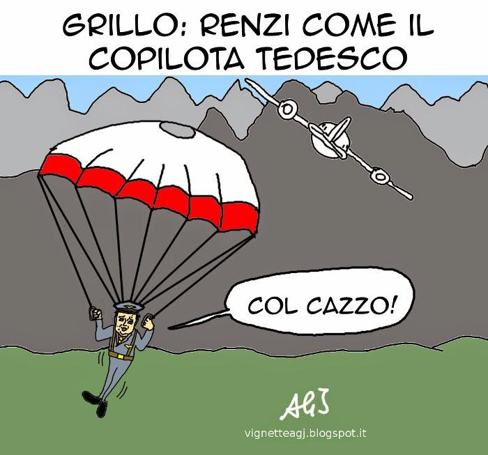 Grillo, Renzi, germanwings, satira vignetta