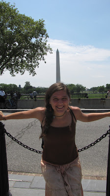 Holly poses in front of the Washington Monument.