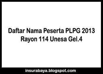 Daftar Nama Peserta PLPG 2013 Gelombang 4 Rayon 114 Unesa Surabaya