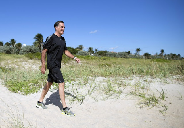 Romney on a beach