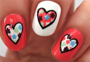 Дизайн ногтей с рисунком сердце