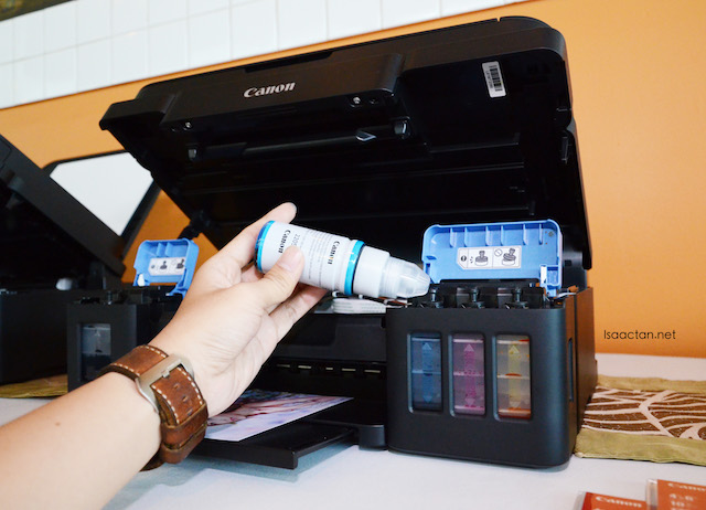 Easily refill the bottles built inside the printers.