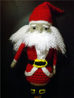 maraca de ganchillo o crochet de papá noel